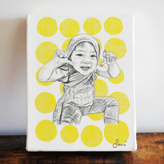 子供の似顔絵オリジナルファブリックパネル 〜SKETCH:サニードロップ〜