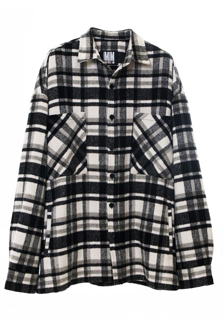 【MEN】Check Shirt Jacket - WHITE & BLACK(数量限定)