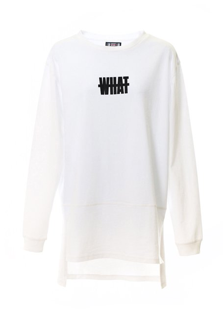 【WOMEN】What Long Sleeve T-shirt - WHITE