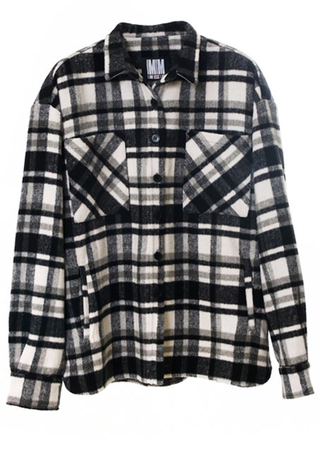 【WOMEN】Check Shirt JK - WHITE & BLACK(数量限定)