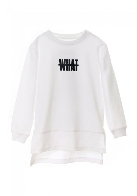 【KIDS】What Long Sleeve T-shirt 100 - WHITE