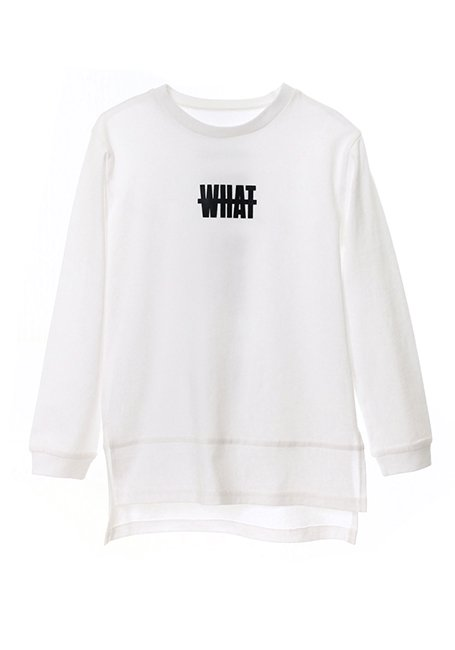 【KIDS】What Long Sleeve T-shirt 130 - WHITE