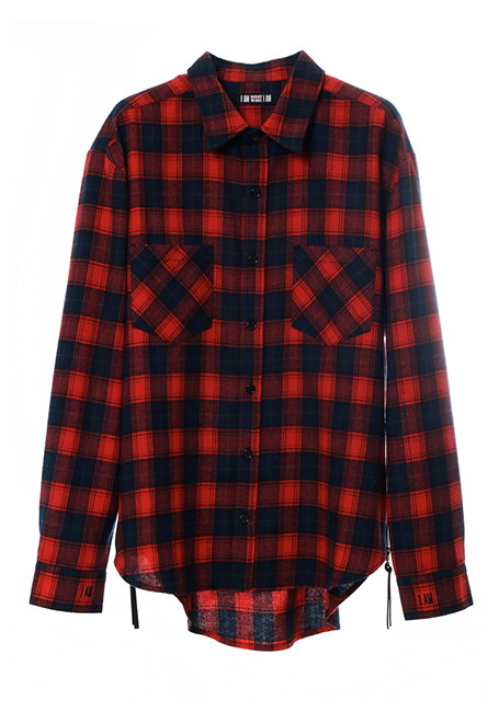 【MEN】IMIM Checked Shirt - RED×NAVY
