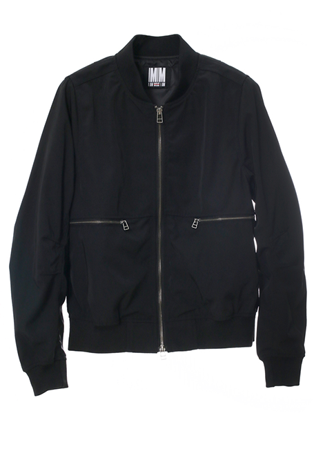 【WOMEN】Side Slits Bomber Jacket - BLACK