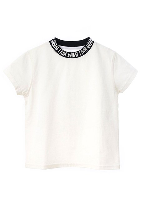 【KIDS】IMIM Jacquard Neck Logo T-shirt 100 - WHITE