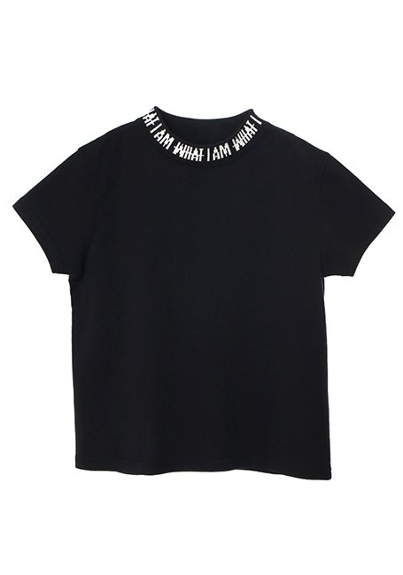 【KIDS】IMIM Jacquard Neck Logo T-shirt 100 - BLACK