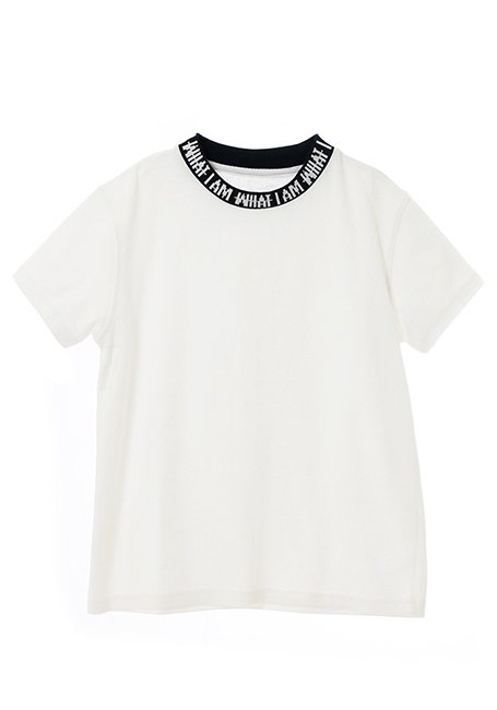 【KIDS】IMIM Jacquard Neck Logo T-shirt 130 - WHITE