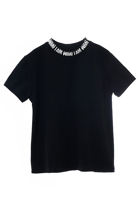 【KIDS】IMIM Jacquard Neck Logo T-shirt 130 - BLACK