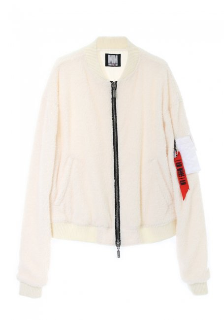 Boa Fleece Bomber Jacket - WHITE