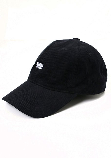 WHAT Corduroy Logo Cap - BLACK