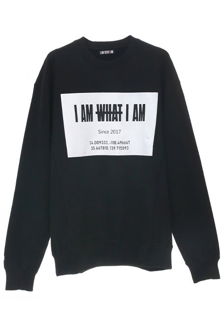 Front Square Logo Oversized Sweatshirt - BLACK