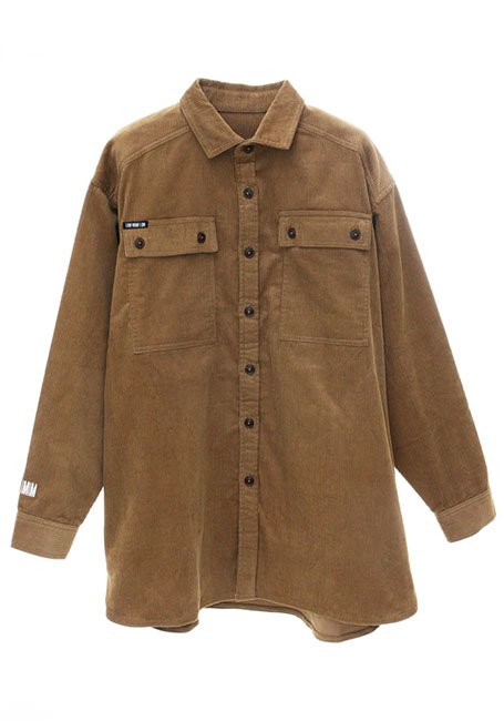 Oversized Corduroy Shirt Jacket - CAMEL