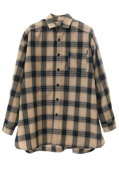 Oversized Check Shirt - BEIGE & BLACK