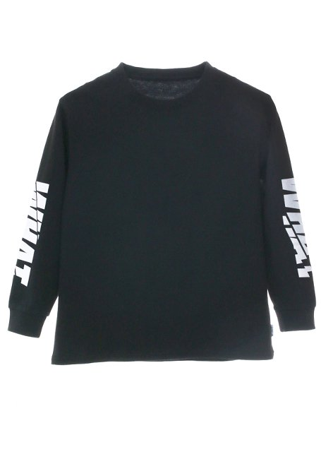【KIDS】WHAT Grunge Logo Long Sleeve T-shirt - BLACK
