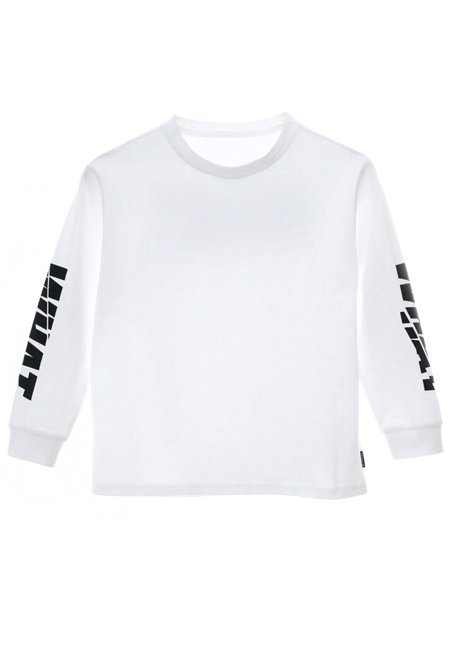 【KIDS】WHAT Grunge Logo Long Sleeve T-shirt - WHITE