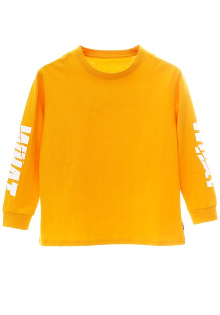 【KIDS】WHAT Grunge Logo Long Sleeve T-shirt - YELLOW