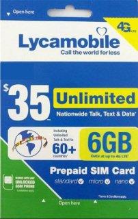 USA SIMカード(Lycamobile) 通話・SMSし放題 データ容量6GB 日本の固定通話可能