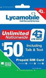 USA SIMカード(Lycamobile) 通話・SMSし放題 データ容量無制限 日本の固定通話可能