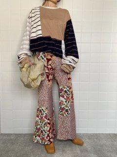 flower patchwork pants
