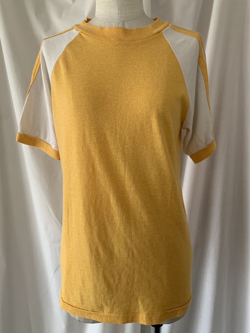 yellow×white T-shirt(used&vintage 162)