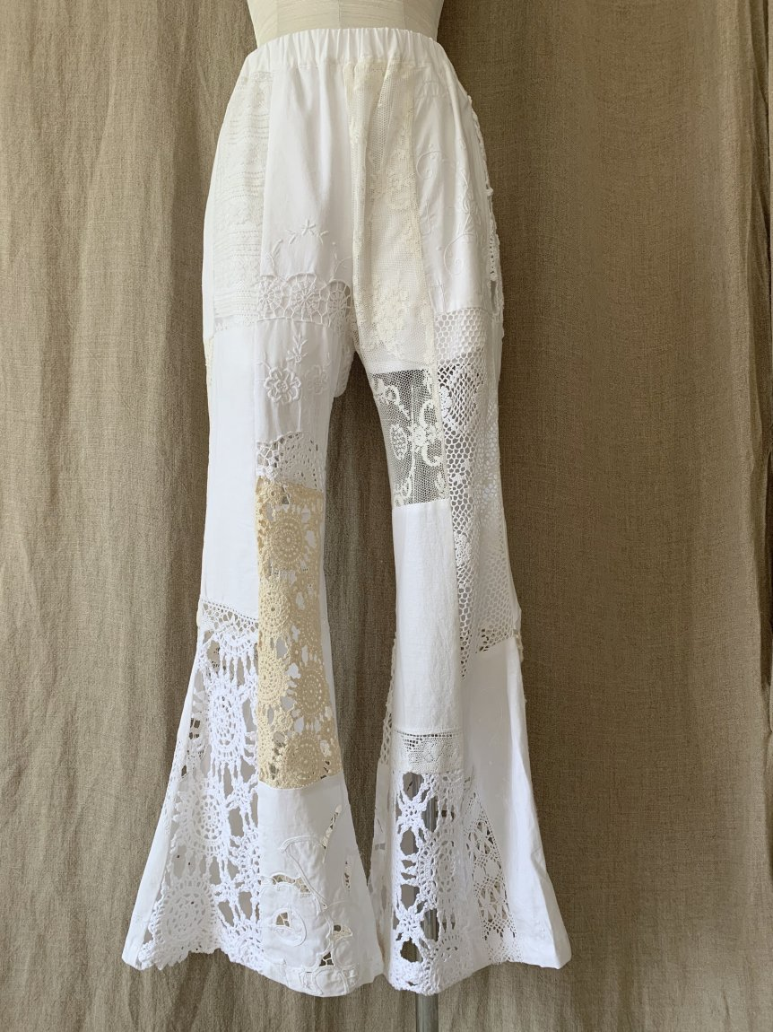 crochet lace flare pants-A
