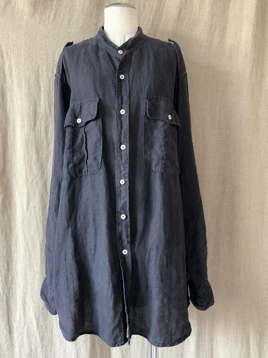 black linen shirt(vintage&used138)