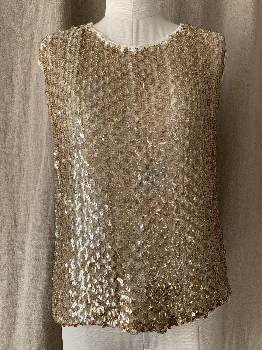 gold sequins tops(vintage&used172)