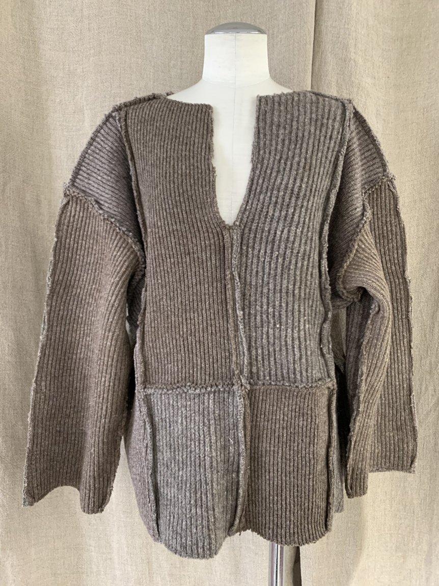swedish rib patchwork knit-A