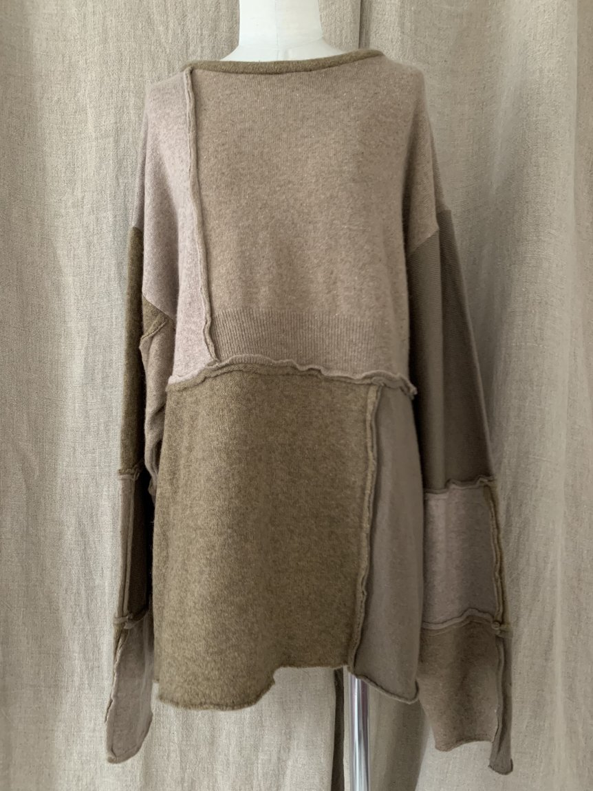 cashmere big long sleeve knit-A