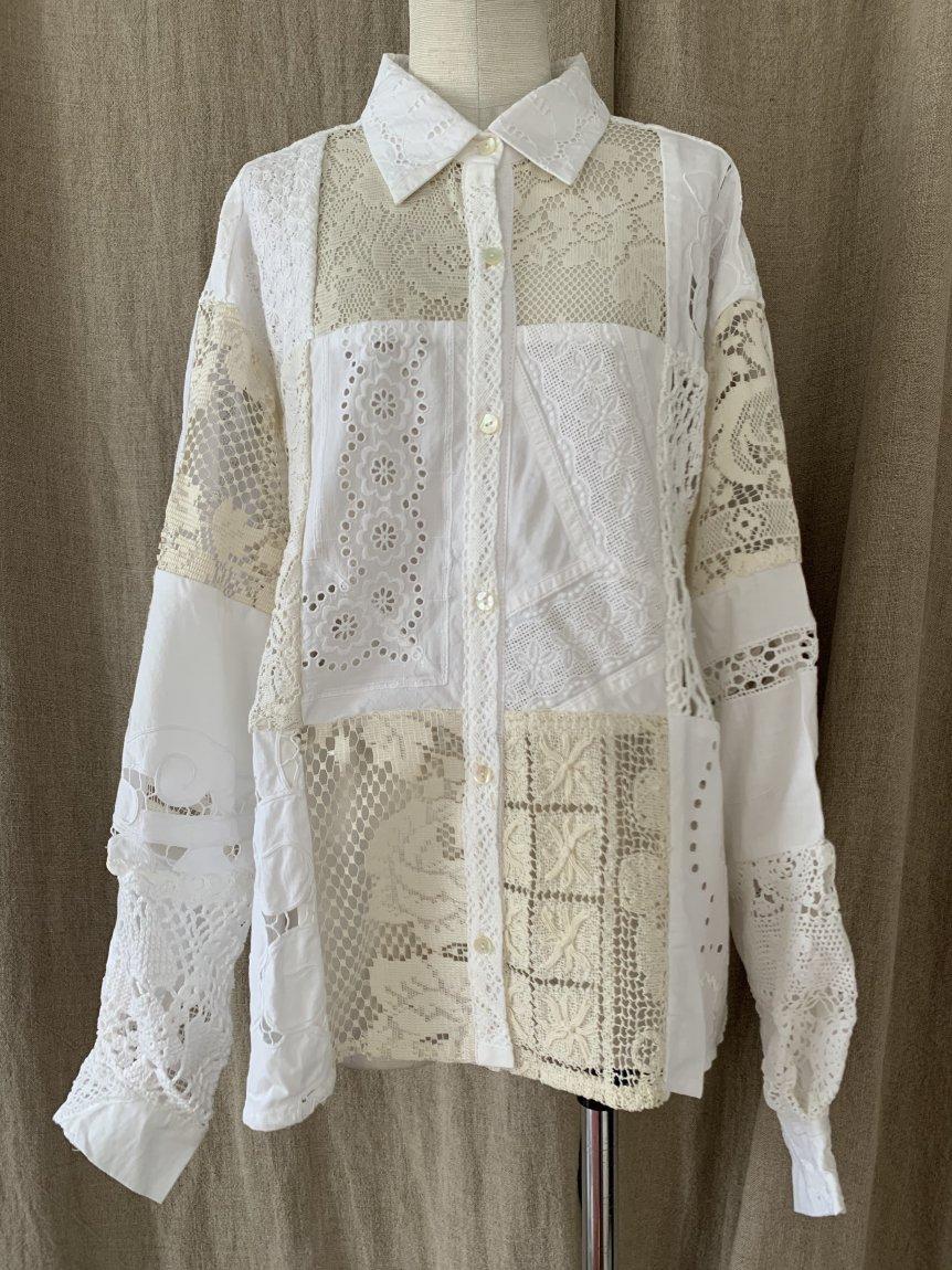 cutwork lace blouse-C
