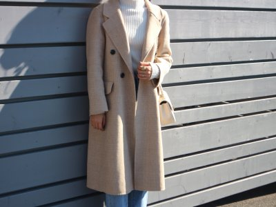 Check wool coat( Beige・Ivory)