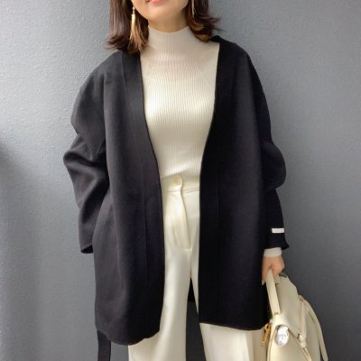 <img class='new_mark_img1' src='https://img.shop-pro.jp/img/new/icons14.gif' style='border:none;display:inline;margin:0px;padding:0px;width:auto;' />Belted coat / Black・Beige