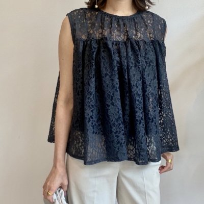 <img class='new_mark_img1' src='//img.shop-pro.jp/img/new/icons14.gif' style='border:none;display:inline;margin:0px;padding:0px;width:auto;' />Lace flare sleeveless blouse / Gray