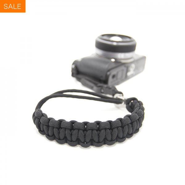 CAMERA WRIST STRAP - BLACK/STAINLESS STEEL