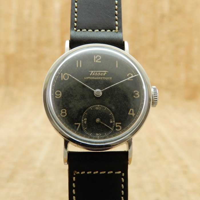Tissot Antimagnetique 1940's SS ManualWind  Cal.27  BlackAgingDial & Smallseconds