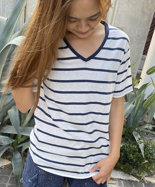 【SALE】【UNISEX】V Neck BORDER Tee / Vネック ボーダー Tシャツ