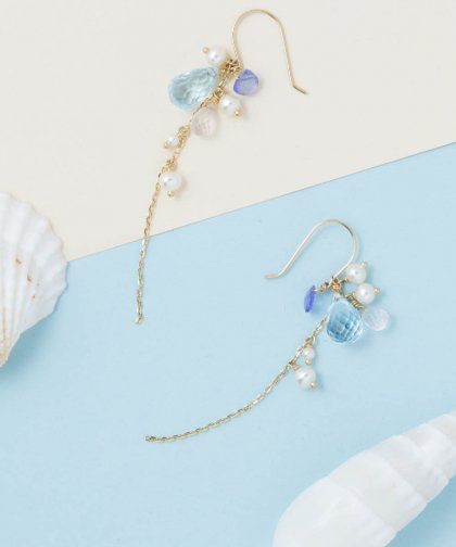 【LADIES】ISLANDS×Lilly&Emma Collabo Collection Blue topaz pierced earring / ブルー トパーズ イヤリング
