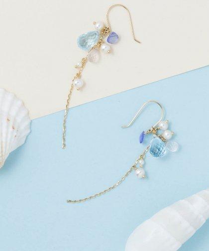 Blue topaz pierced earring / ブルー トパーズ ピアス