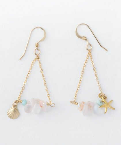 【LADIES】Lino by me Hawaii Starfish・shell motif Pierced earring / スターフィッシュ・シェル モチーフ イヤリング