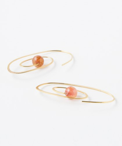 【LADIES】Lan Vo Spiral Type Jade Stone Pierced Earring / ジェイド ストーン イヤリング