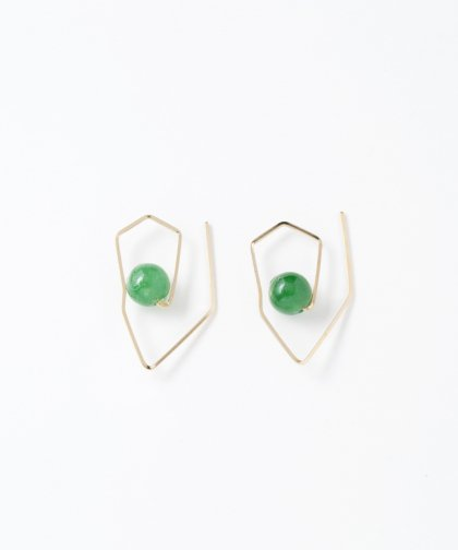 【LADIES】LanVo Deformation Type Jade Stone Pierced Earring / ジェイド ストーン イヤリング