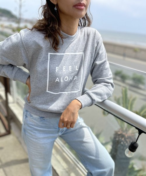 【新作】【UNISEX】FEEL ALOHA Crew Neck Sweat Shirt