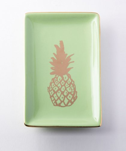 Rectangle Pineapple Trinket Dish / Green&Gold パイナップル プレート