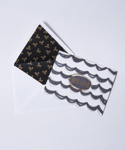 12 Blank Notes With Lined Envelopes Message Card Set「BONJOUR」/ メッセージカード セット