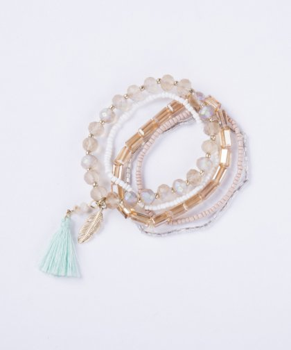 【LADIES】Bracelet 5 Set with Tassel
