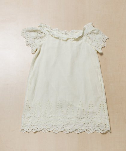 【LADIES】ELLISON Embroidery Dress / ホワイト オフショルダーワンピース