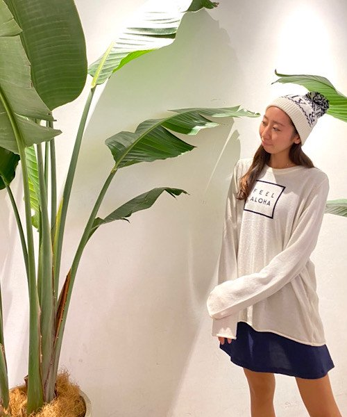 【限定6着!】【UNISEX】FEEL ALOHA Pullover Knit Top/FEEL ALOHA プルオーバーニットトップス
