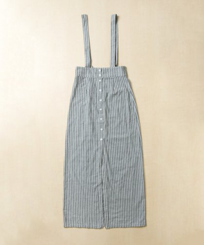 <img class='new_mark_img1' src='//img.shop-pro.jp/img/new/icons14.gif' style='border:none;display:inline;margin:0px;padding:0px;width:auto;' />【LADIES】EN CREME Gray Strip Overall Skirt/グレーストライプ オーバーオールスカート