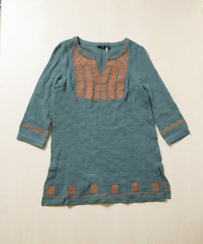 【LADIES】THML Green Orange Stitch Tunic / 刺繍入りワンピース