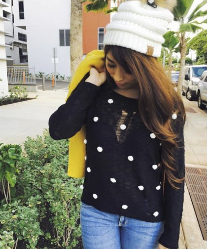【LADIES】ALYTHEA Black With White Pom Pom Knit Sweater/BLACK×WHITE ポンポン付きニット